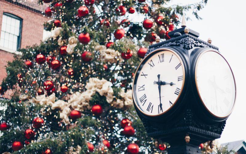 TCM Clock and Christmas Tree